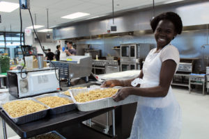 Food entrepreneur working in The Hatchery's shared commercial kitchen space.